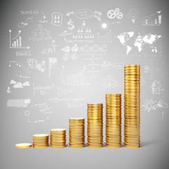 3d gold coins and business plan background