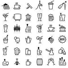 beverages line ikons