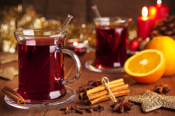 Mulled wine or glühwein on a rustic table