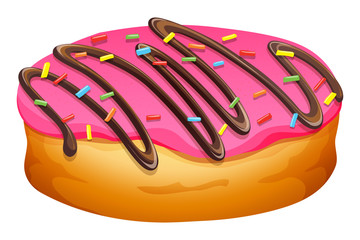 Doughnut with pink frosting