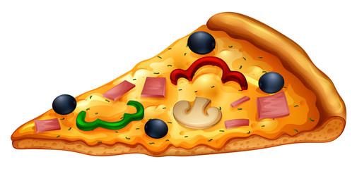 Slice of pizza on white