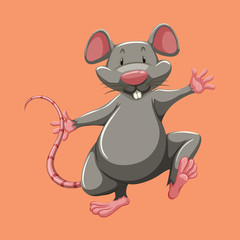 Grey mouse walking alone.