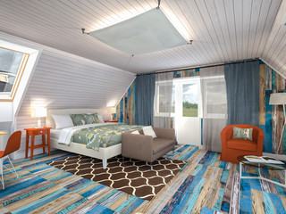 colorful bedroom in the attic 3d