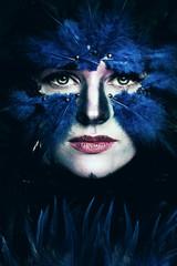 Fantasy Stage Makeup. Woman with Art Makeup. Blue Bird Face