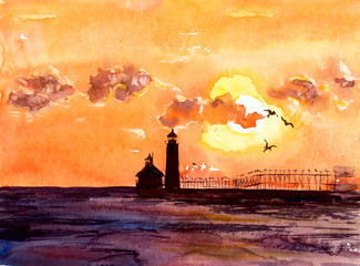 Landscape with a sunset. Beacon and sea. Watercolor hand drawing illustration.