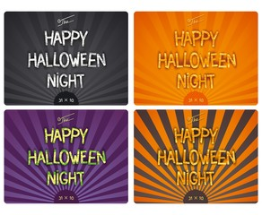 Happy Halloween Night - set retro cinema 3D poster with author designed lettering. Vector eps 10
