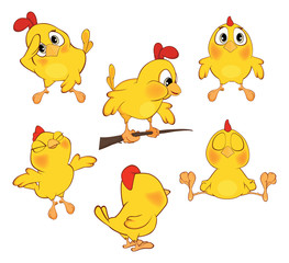 illustration of a set of cute cartoon yellow chickens