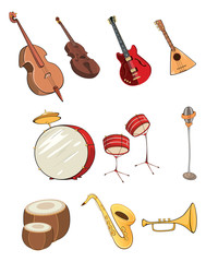 illustration of a set of cartoon musical instruments