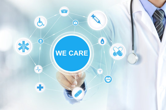 Doctor hand touching WE CARE sign on virtual screen
