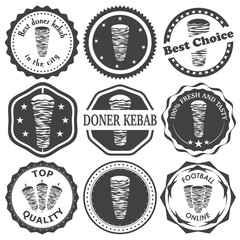 Set of retro vintage stamp for doner kebab. Vector illustration