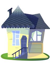 Grandma's house cartoon illustration isolated on white backdrop.