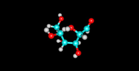 Mannose molecular structure isolated on black