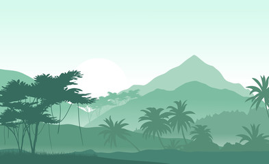 Sunrise in the tropical mountains. Vector illustration .
