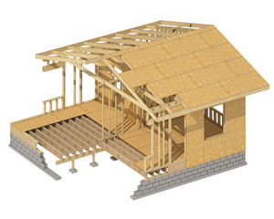 three-dimensional image of a wooden frame house. Cartoon conceptual image