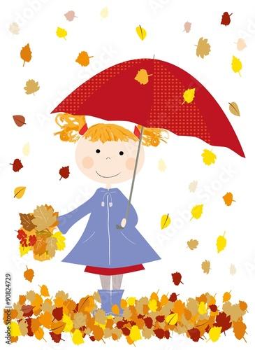 quot jesie u0144  dziecko z czerwon u0105 parasolk u0105 i spadaj u0105ce li u015bcie autumn clip art leaves autumn clip art images