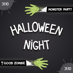 .Halloween night party - card with 3D inscription and zombie hands. Vector eps 10