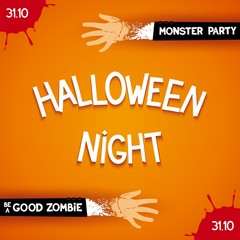 Halloween night party - trendy poster with 3D inscription and zombie hands. Vector eps 10