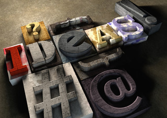The word ideas made from colorful grunge textured wooden printin