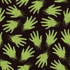 Spooky seamless pattern of torn and scruffy zombie wrist rest. Vector eps 8