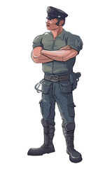 Policeman - Police Officer Stand Guard - Raster Isolated Illustration