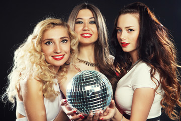 Party girls with disco ball
