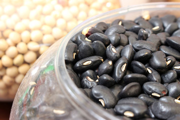 black eyed peas on wood background