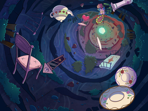 Falling in the rabbit hole with a bunch of objects. Cartoon stylish raster illustration.