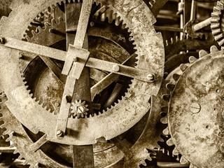 Detail of a rusty ancient church clock mechanism