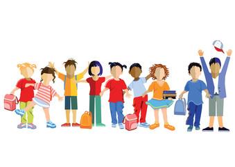 Schulkinder mit Schultaschen