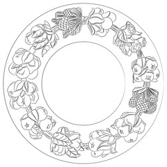 Round ornament, wreath made of hand drawn leaves and fruits. Horn of plenty. Fruits and vegetables arranged on a circle. Vector medallion