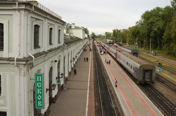 Passenger trains are in the station in Pskov.