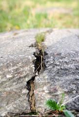 Crashed asphalt after earthquake