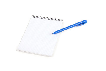 Paper notebook with blue pen