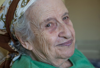 closeup face of a senior woman