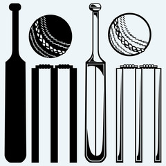 Set equipment for cricket. Cricket bat and ball. Isolated on blue background