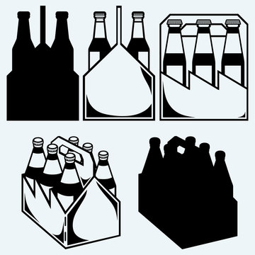 Beer six pack in three boxes. Isolated on blue background