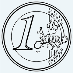 One euro coin. Isolated on blue background