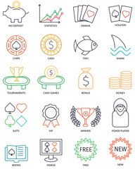 Set Of Vector Thin Line Online Poker Icons For Affiliate Promotional Web Site.