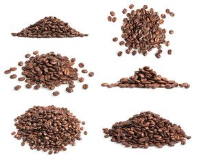 Collection of coffee beans heap on white
