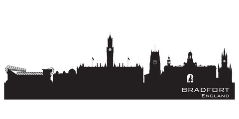 Bradfort England skyline. Detailed silhouette