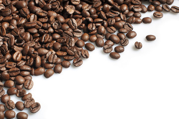Roasted coffee beans frame on white