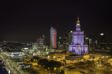 Warsaw downtown at night aerial view, Poland