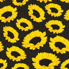 Seamless pattern with sunflowers on dark background with fabric texture. Vector eps 10