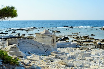 Ancient marble quarries of Aliki from Alyki in Thassos in Greece