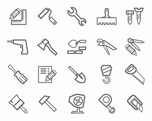 Icons, workers and construction tools, monochrome.