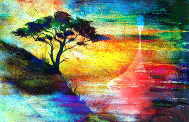 Viking Boat and tree on the beach, collage wallpaper landscape.