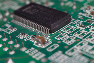 Close up of IC pin on computer main board.