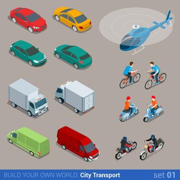 Flat 3d isometric city transport icon set