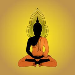 Buddha image silhouette Vector illustration, Asian Art.