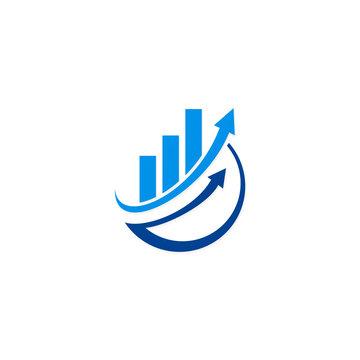 arrow chart business finance vector logo
